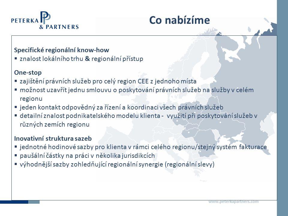 www.peterkapartners.com PETERKA & PARTNERS Moskva  od roku 2009 (předtím zastupování prostřednictvím partnerských kanceláří)  15 lokálních právníků  komplexní nabídka právních služeb  služby v ruštině, angličtině, francouzštině, němčině, češtině a slovenštině Kontakty: Marina Tarnovskaya, ředitelka Rusko, tarnovskaya@peterkapartners.rutarnovskaya@peterkapartners.ru Vlad Rudnitskiy, ředitel Rusko, rudnitskiy@peterkapartners.ruudnitskiy@peterkapartners.ru Dan Loukota, Managing Associate, loukota@peterkapartners.ruloukota@peterkapartners.ru