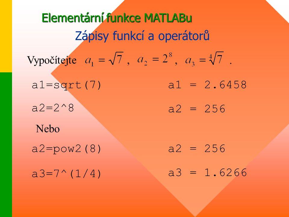 Elementární funkce MATLABu Zápisy funkcí a operátorů Vypočítejte,., a1=sqrt(7)a1 = 2.6458 a2=2^8 a2 = 256 Nebo a2=pow2(8) a3=7^(1/4) a3 = 1.6266 a2 = 256