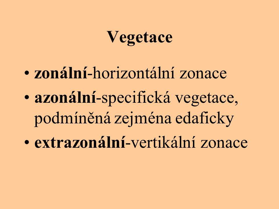 Vegetace zonální-horizontální zonace azonální-specifická vegetace, podmíněná zejména edaficky extrazonální-vertikální zonace