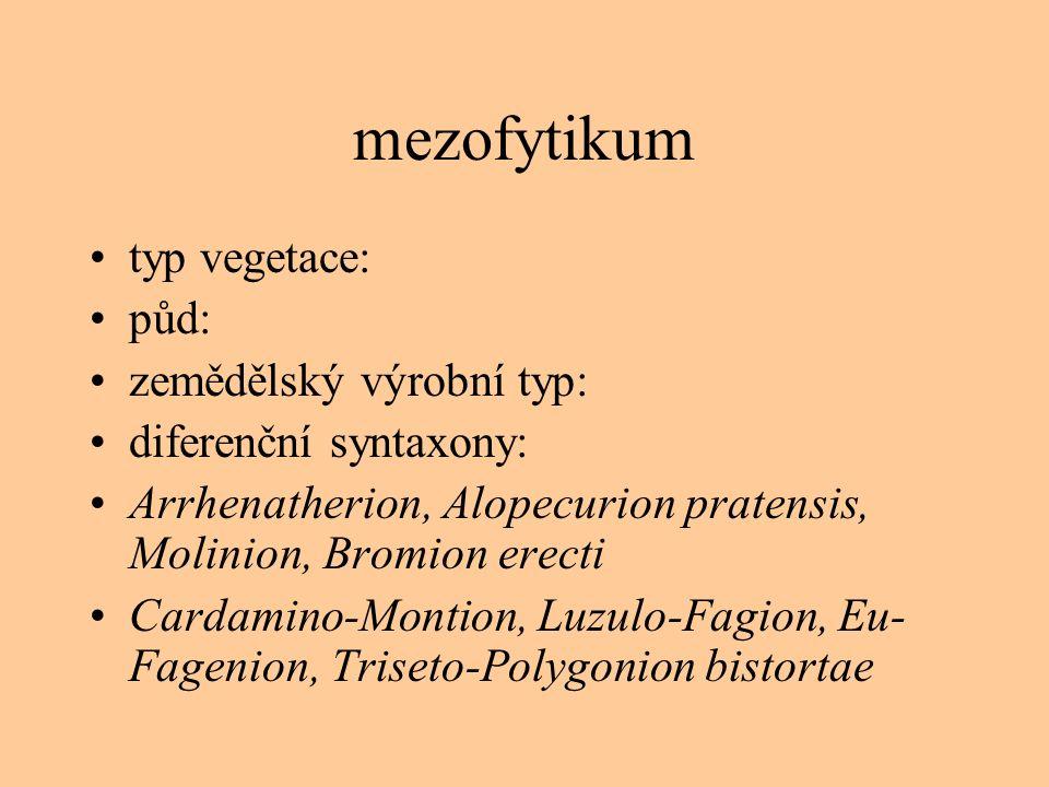 mezofytikum typ vegetace: půd: zemědělský výrobní typ: diferenční syntaxony: Arrhenatherion, Alopecurion pratensis, Molinion, Bromion erecti Cardamino