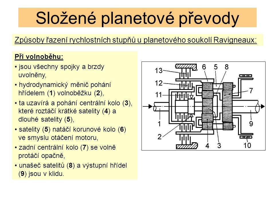Způsoby řazení rychlostních stupňů u planetového soukolí Ravigneaux: Složené planetové převody Při volnoběhu: jsou všechny spojky a brzdy uvolněny, hydrodynamický měnič pohání hřídelem (1) volnoběžku (2), ta uzavírá a pohání centrální kolo (3), které roztáčí krátké satelity (4) a dlouhé satelity (5), satelity (5) natáčí korunové kolo (6) ve smyslu otáčení motoru, zadní centrální kolo (7) se volně protáčí opačně, unašeč satelitů (8) a výstupní hřídel (9) jsou v klidu.