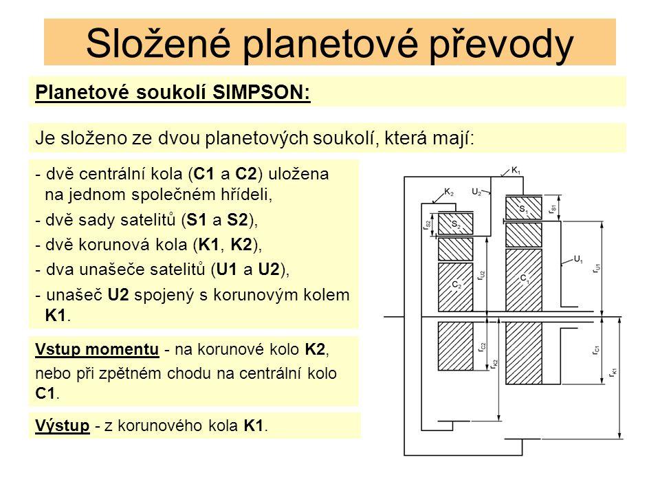 Planetové soukolí SIMPSON: Složené planetové převody Je složeno ze dvou planetových soukolí, která mají: - dvě centrální kola (C1 a C2) uložena na jednom společném hřídeli, - dvě sady satelitů (S1 a S2), - dvě korunová kola (K1, K2), - dva unašeče satelitů (U1 a U2), - unašeč U2 spojený s korunovým kolem K1.