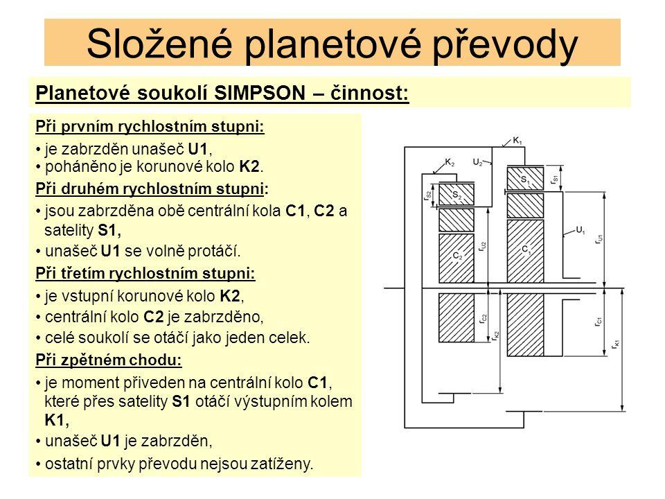 Planetové soukolí SIMPSON – činnost: Složené planetové převody Při prvním rychlostním stupni: je zabrzděn unašeč U1, poháněno je korunové kolo K2.