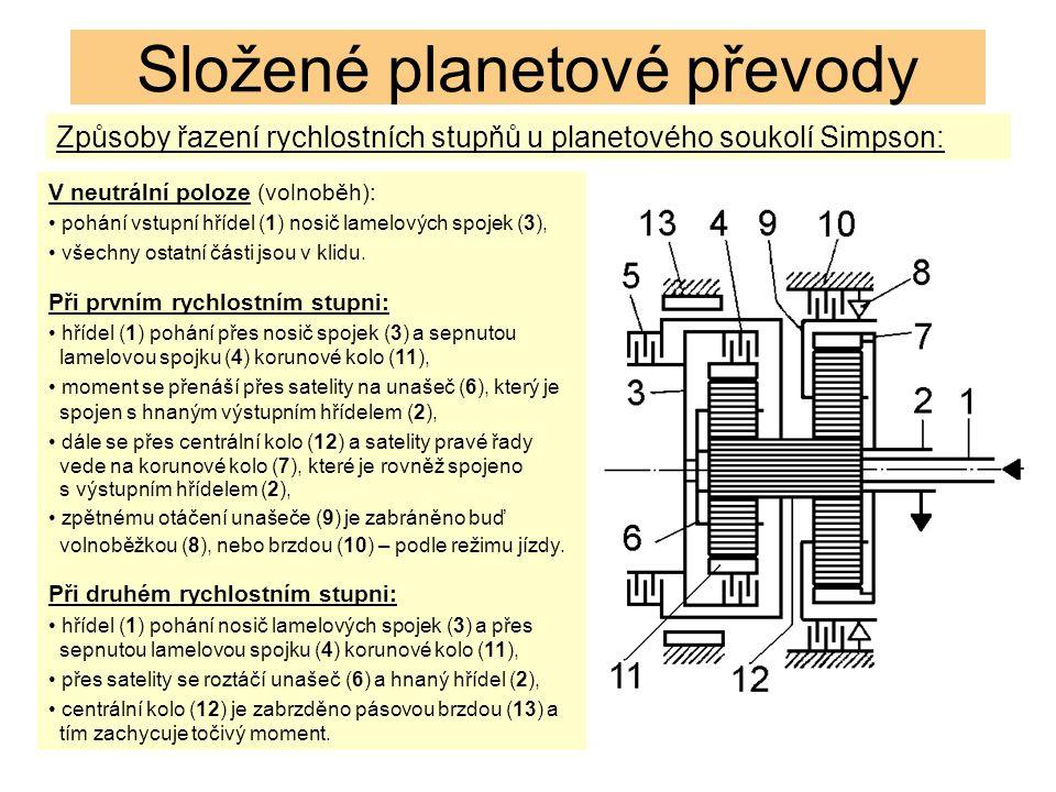 Složené planetové převody Způsoby řazení rychlostních stupňů u planetového soukolí Simpson: V neutrální poloze (volnoběh): pohání vstupní hřídel (1) nosič lamelových spojek (3), všechny ostatní části jsou v klidu.