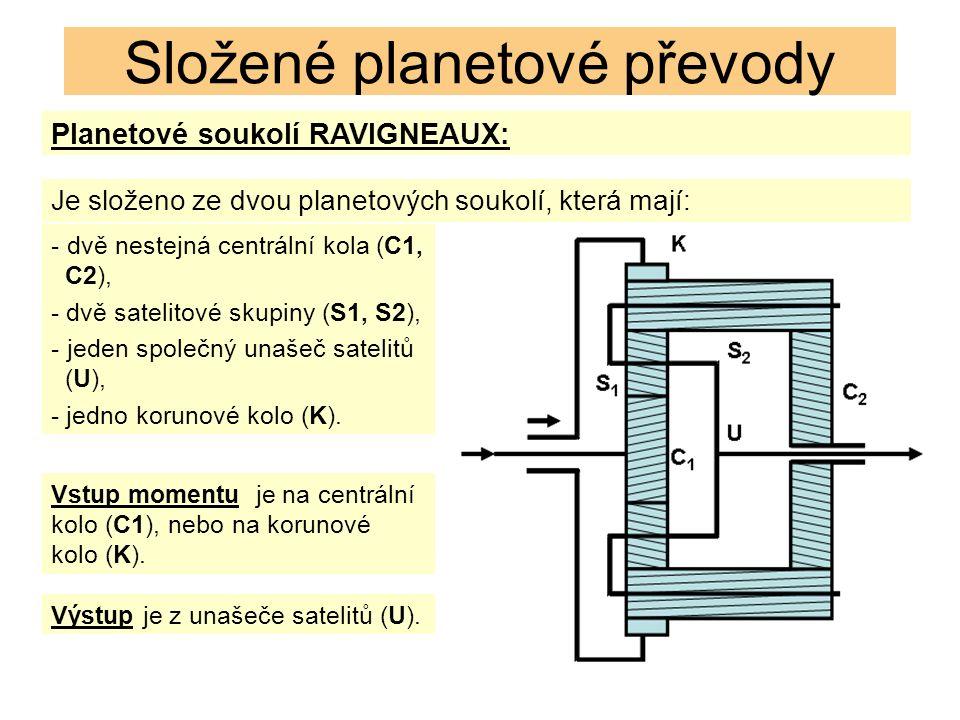 Planetové soukolí RAVIGNEAUX: Složené planetové převody Je složeno ze dvou planetových soukolí, která mají: - dvě nestejná centrální kola (C1, C2), - dvě satelitové skupiny (S1, S2), - jeden společný unašeč satelitů (U), - jedno korunové kolo (K).