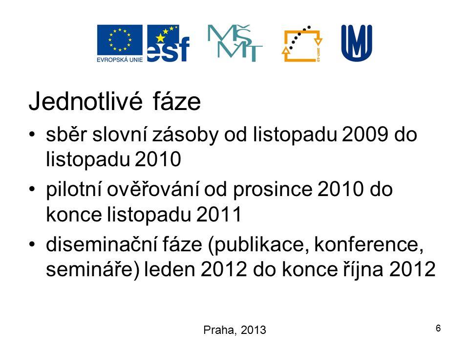 Jednotlivé fáze sběr slovní zásoby od listopadu 2009 do listopadu 2010 pilotní ověřování od prosince 2010 do konce listopadu 2011 diseminační fáze (pu