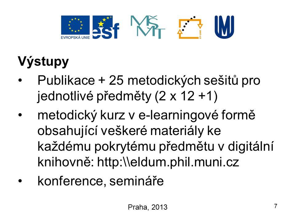 Výstupy Publikace + 25 metodických sešitů pro jednotlivé předměty (2 x 12 +1) metodický kurz v e-learningové formě obsahující veškeré materiály ke každému pokrytému předmětu v digitální knihovně: http:\\eldum.phil.muni.cz konference, semináře 7 Praha, 2013