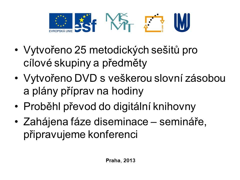 Vytvořeno 25 metodických sešitů pro cílové skupiny a předměty Vytvořeno DVD s veškerou slovní zásobou a plány příprav na hodiny Proběhl převod do digitální knihovny Zahájena fáze diseminace – semináře, připravujeme konferenci Praha, 2013