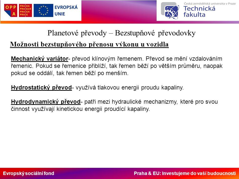 Evropský sociální fond Praha & EU: Investujeme do vaší budoucnosti Planetové převody – Bezstupňové převodovky Možnosti bezstupňového přenosu výkonu u vozidla Mechanický variátor- převod klínovým řemenem.