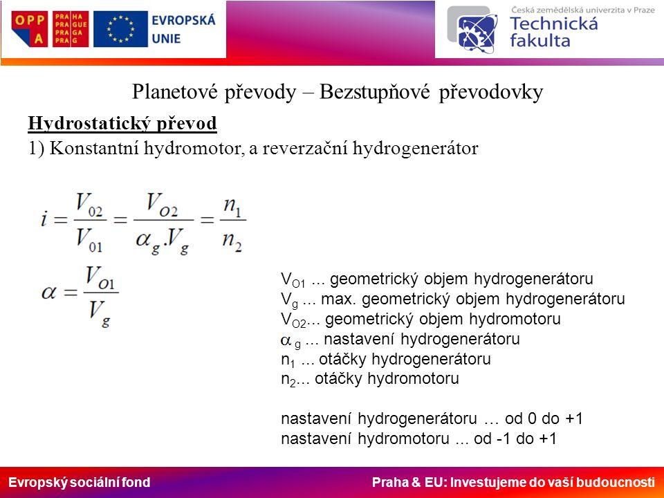 Evropský sociální fond Praha & EU: Investujeme do vaší budoucnosti Planetové převody – Bezstupňové převodovky Hydrostatický převod 1) Konstantní hydromotor, a reverzační hydrogenerátor V O1...