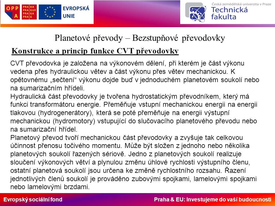 Evropský sociální fond Praha & EU: Investujeme do vaší budoucnosti Planetové převody – Bezstupňové převodovky Konstrukce a princip funkce CVT převodovky CVT převodovka je založena na výkonovém dělení, při kterém je část výkonu vedena přes hydraulickou větev a část výkonu přes větev mechanickou.