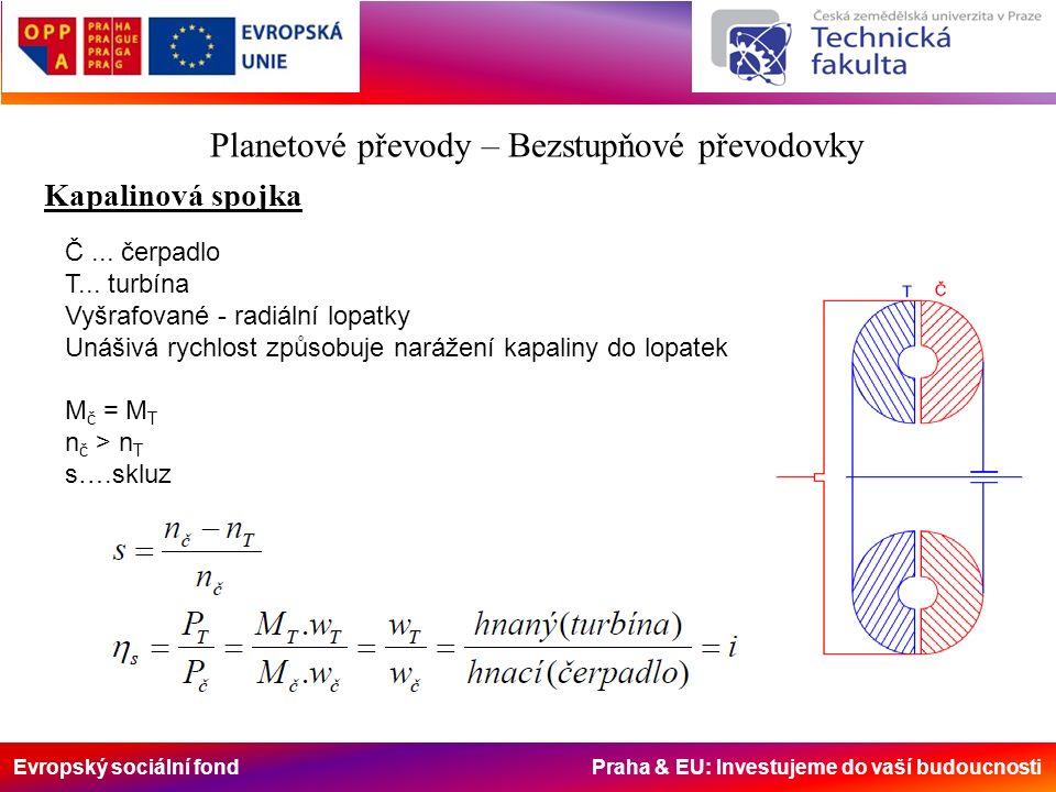 Evropský sociální fond Praha & EU: Investujeme do vaší budoucnosti Planetové převody – Bezstupňové převodovky Kapalinová spojka Č...