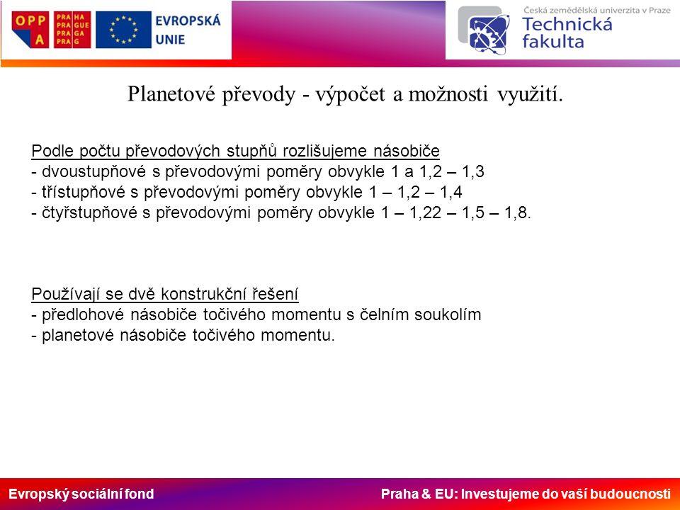 Evropský sociální fond Praha & EU: Investujeme do vaší budoucnosti Násobič Zetor UŘ 1 - pomocí dvojúčelové spojky Planetové převody - výpočet a možnosti využití.