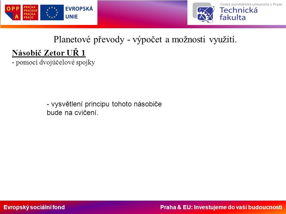 Evropský sociální fond Praha & EU: Investujeme do vaší budoucnosti Planetové převody – násobiče točivého momentu Reverzační planetový převod SB PX ZX