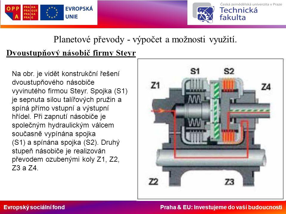 Evropský sociální fond Praha & EU: Investujeme do vaší budoucnosti Dvoustupňový násobič firmy Steyr Planetové převody - výpočet a možnosti využití.