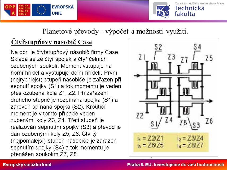 Evropský sociální fond Praha & EU: Investujeme do vaší budoucnosti Planetový převod Planetové převody – násobiče točivého momentu 1…centrální kolo 2…korunové kolo 3…satelity 4…unašeč satelitů