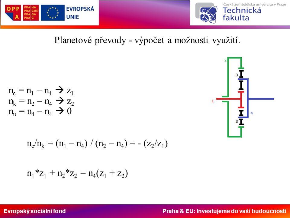 Evropský sociální fond Praha & EU: Investujeme do vaší budoucnosti Možnosti využití Planetové převody - výpočet a možnosti využití.