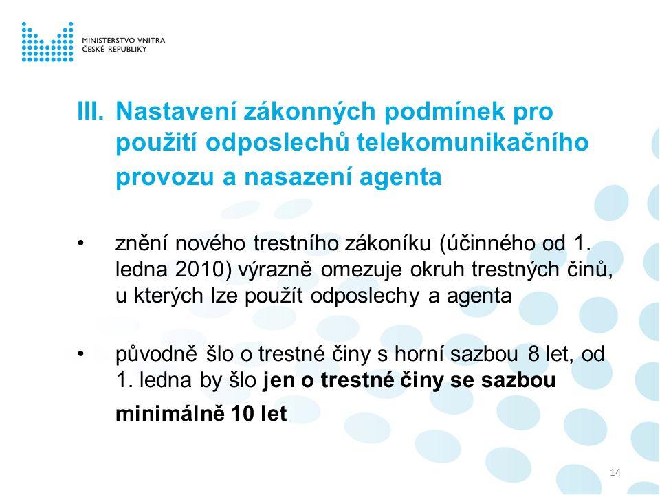 III.Nastavení zákonných podmínek pro použití odposlechů telekomunikačního provozu a nasazení agenta znění nového trestního zákoníku (účinného od 1.