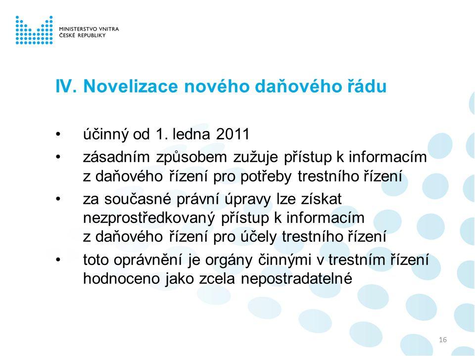 IV.Novelizace nového daňového řádu účinný od 1.
