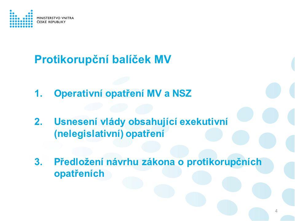 Protikorupční balíček MV 1.Operativní opatření MV a NSZ 2.Usnesení vlády obsahující exekutivní (nelegislativní) opatření 3.Předložení návrhu zákona o protikorupčních opatřeních 4