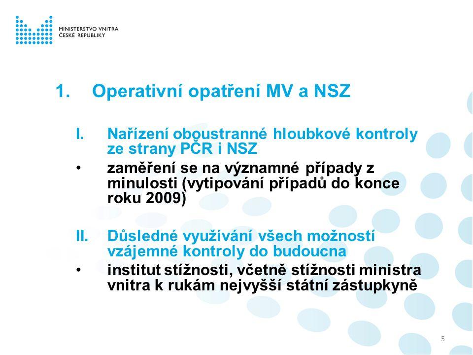 1.Operativní opatření MV a NSZ I.Nařízení oboustranné hloubkové kontroly ze strany PČR i NSZ zaměření se na významné případy z minulosti (vytipování případů do konce roku 2009) II.Důsledné využívání všech možností vzájemné kontroly do budoucna institut stížnosti, včetně stížnosti ministra vnitra k rukám nejvyšší státní zástupkyně 5