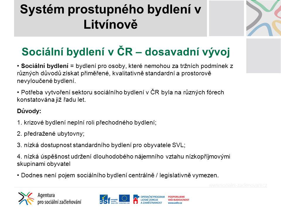 Sociální bydlení v ČR – dosavadní vývoj Sociální bydlení = bydlení pro osoby, které nemohou za tržních podmínek z různých důvodů získat přiměřené, kva