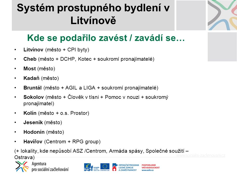 Název příspěvku Kde se podařilo zavést / zavádí se… Litvínov (město + CPI byty) Cheb (město + DCHP, Kotec + soukromí pronajímatelé) Most (město) Kadaň