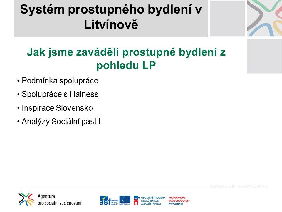Jak jsme zaváděli prostupné bydlení z pohledu města Město Litvínov (25 635, 15,7 %, lokality Janov – 5 544 trvale hlášených obyvatel, UNO, Bílý Sloup, 68 obecních bytů) Vznik v roce 2009 Inspirace v zahraničí (Slovensko) Spolupráce s Agenturou pro sociální začleňování Nastavení spolupráce se soukromým majitelem bytového fondu – CPI byty (Heines) Druhá šance pro lidi, kteří přišli o bydlení Motivace klientů nezbytným předpokladem Systém prostupného bydlení v Litvínově