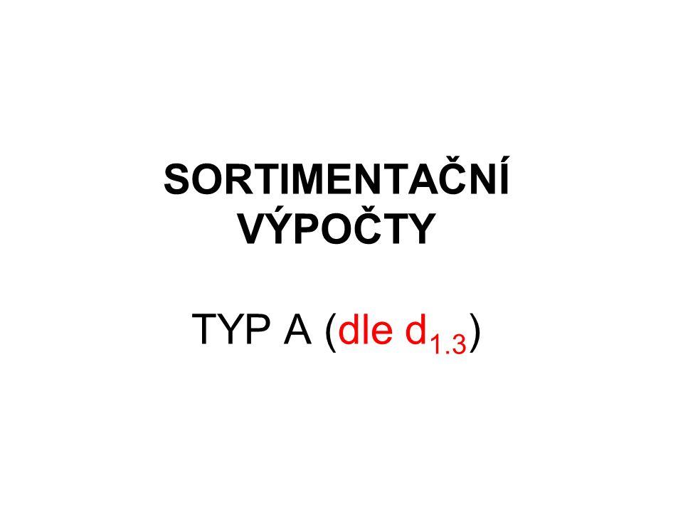 SORTIMENTAČNÍ VÝPOČTY TYP A (dle d 1.3 )