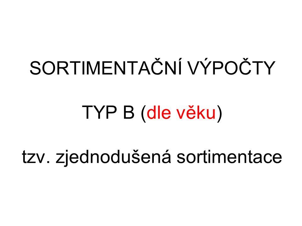 SORTIMENTAČNÍ VÝPOČTY TYP B (dle věku) tzv. zjednodušená sortimentace