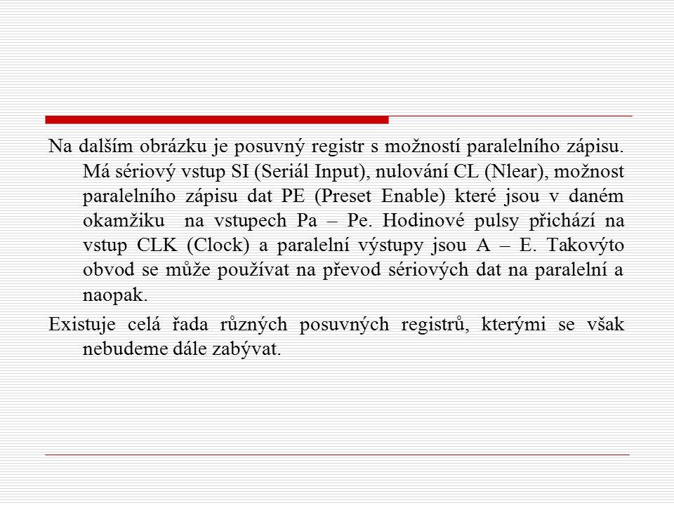 Na dalším obrázku je posuvný registr s možností paralelního zápisu. Má sériový vstup SI (Seriál Input), nulování CL (Nlear), možnost paralelního zápis