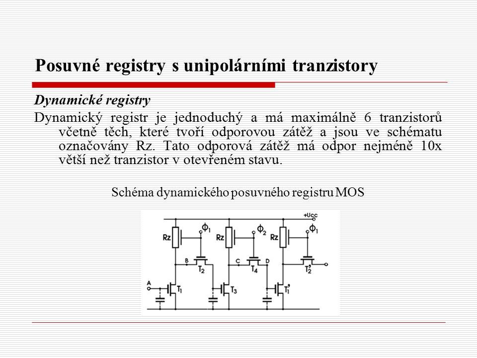 Posuvné registry s unipolárními tranzistory Dynamické registry Dynamický registr je jednoduchý a má maximálně 6 tranzistorů včetně těch, které tvoří odporovou zátěž a jsou ve schématu označovány Rz.