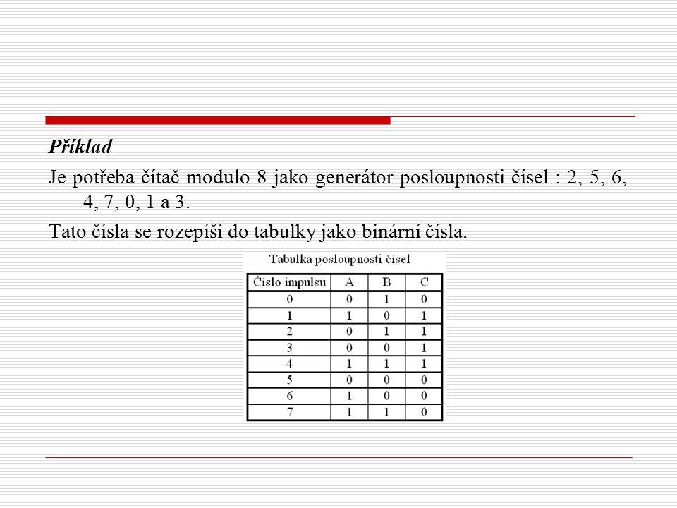 Příklad Je potřeba čítač modulo 8 jako generátor posloupnosti čísel : 2, 5, 6, 4, 7, 0, 1 a 3. Tato čísla se rozepíší do tabulky jako binární čísla.
