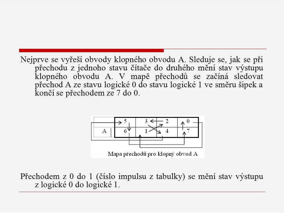 Nejprve se vyřeší obvody klopného obvodu A. Sleduje se, jak se při přechodu z jednoho stavu čítače do druhého mění stav výstupu klopného obvodu A. V m