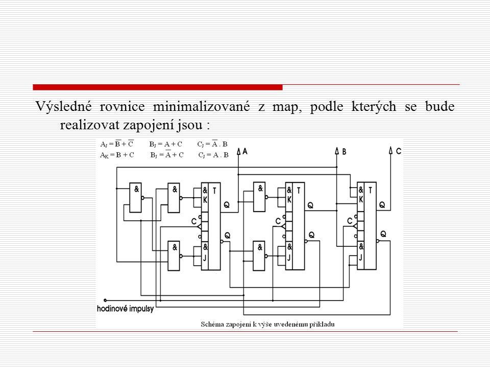 Výsledné rovnice minimalizované z map, podle kterých se bude realizovat zapojení jsou :