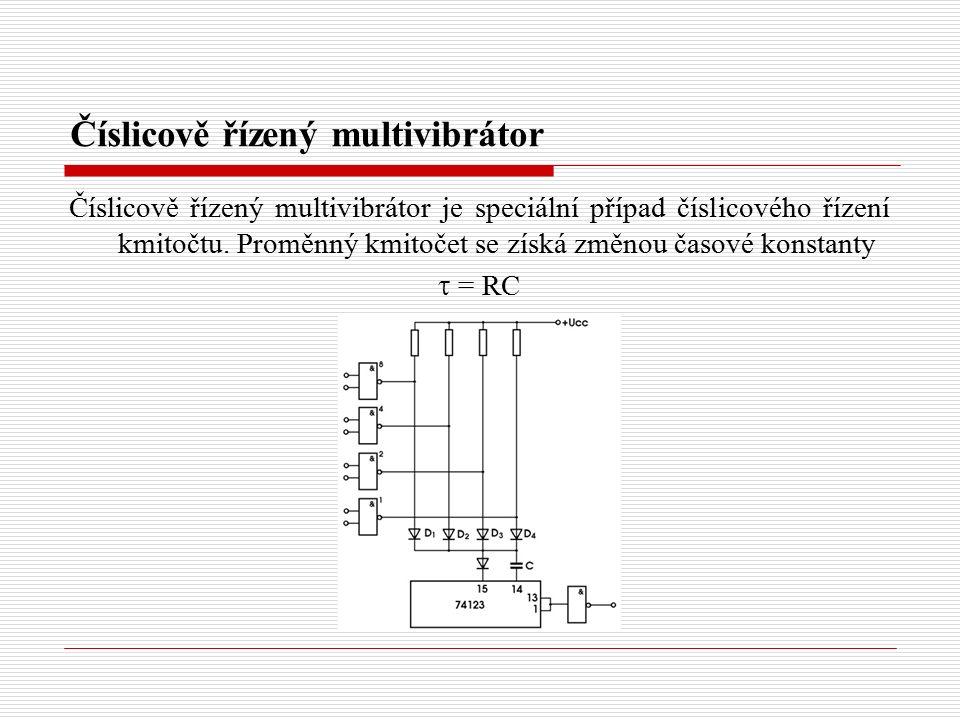 Číslicově řízený multivibrátor Číslicově řízený multivibrátor je speciální případ číslicového řízení kmitočtu. Proměnný kmitočet se získá změnou časov