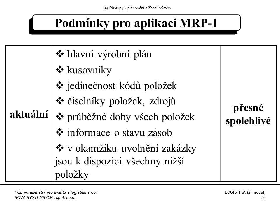 Podmínky pro aplikaci MRP-1 aktuální  hlavní výrobní plán  kusovníky  jedinečnost kódů položek  číselníky položek, zdrojů  průběžné doby všech položek  informace o stavu zásob  v okamžiku uvolnění zakázky jsou k dispozici všechny nižší položky přesné spolehlivé ( 4) Přístupy k plánování a řízení výroby PQL poradenství pro kvalitu a logistiku s.r.o.