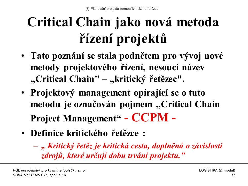 """Critical Chain jako nová metoda řízení projektů Tato poznání se stala podnětem pro vývoj nové metody projektového řízení, nesoucí název """"Critical Chain – """"kritický řetězec ."""