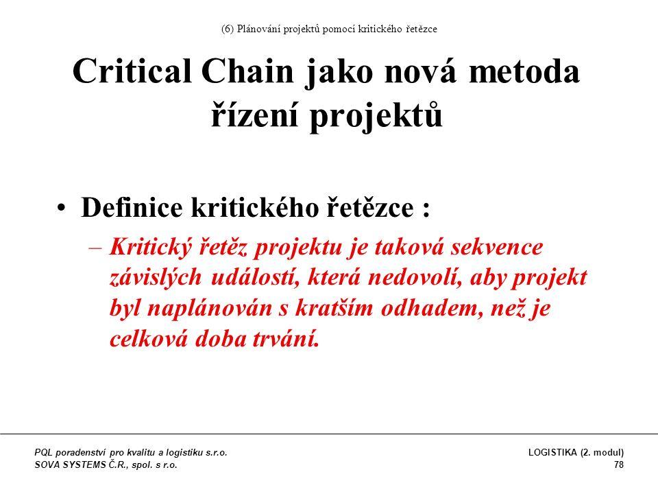 Definice kritického řetězce : –Kritický řetěz projektu je taková sekvence závislých událostí, která nedovolí, aby projekt byl naplánován s kratším odhadem, než je celková doba trvání.