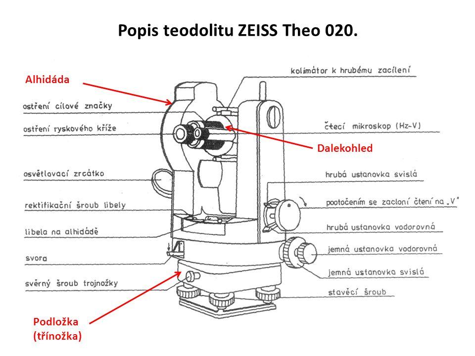 Popis teodolitu ZEISS Theo 020. Alhidáda Podložka (třínožka) Dalekohled