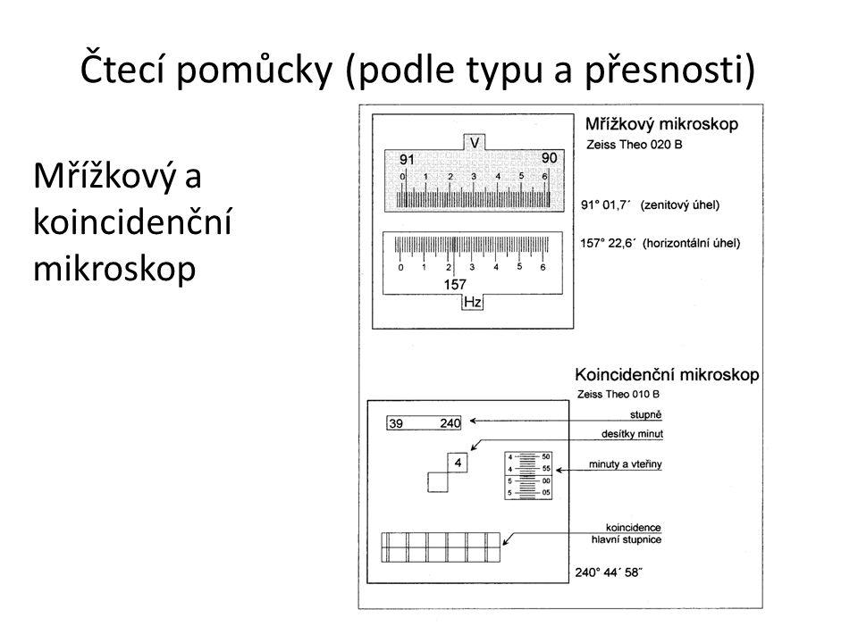 Mřížkový a koincidenční mikroskop Čtecí pomůcky (podle typu a přesnosti)