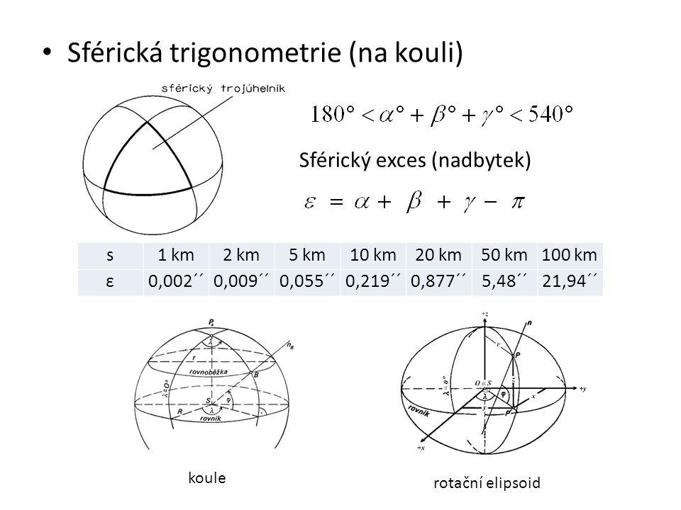 Sférická trigonometrie (na kouli) Sférický exces (nadbytek) s1 km2 km5 km10 km20 km50 km100 km ε0,002´´0,009´´0,055´´0,219´´0,877´´5,48´´21,94´´ koule