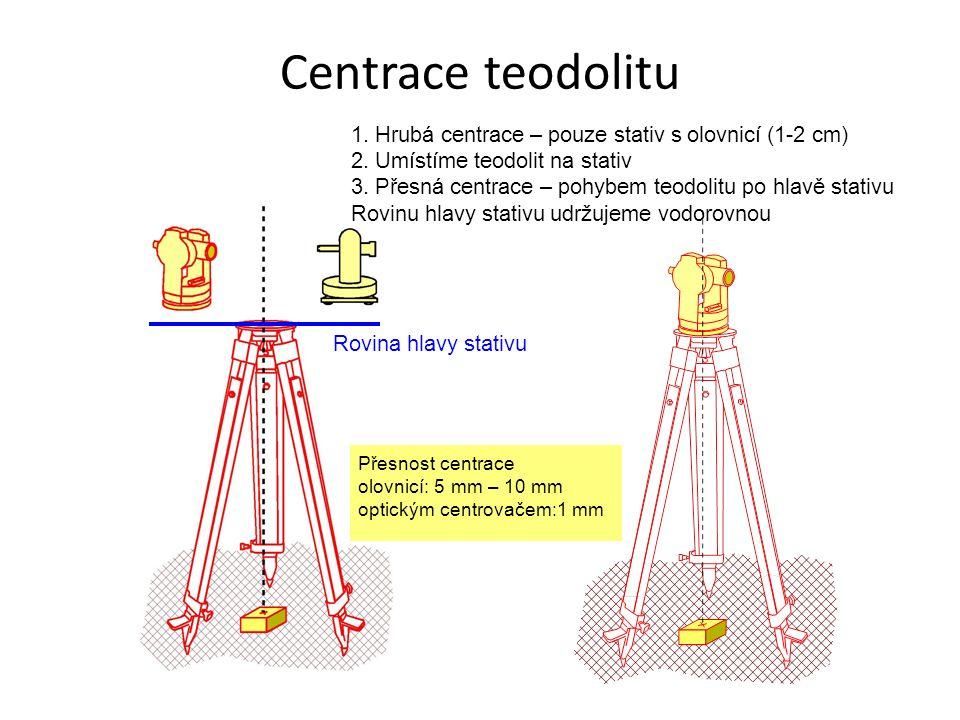 Centrace teodolitu 1. Hrubá centrace – pouze stativ s olovnicí (1-2 cm) 2. Umístíme teodolit na stativ 3. Přesná centrace – pohybem teodolitu po hlavě