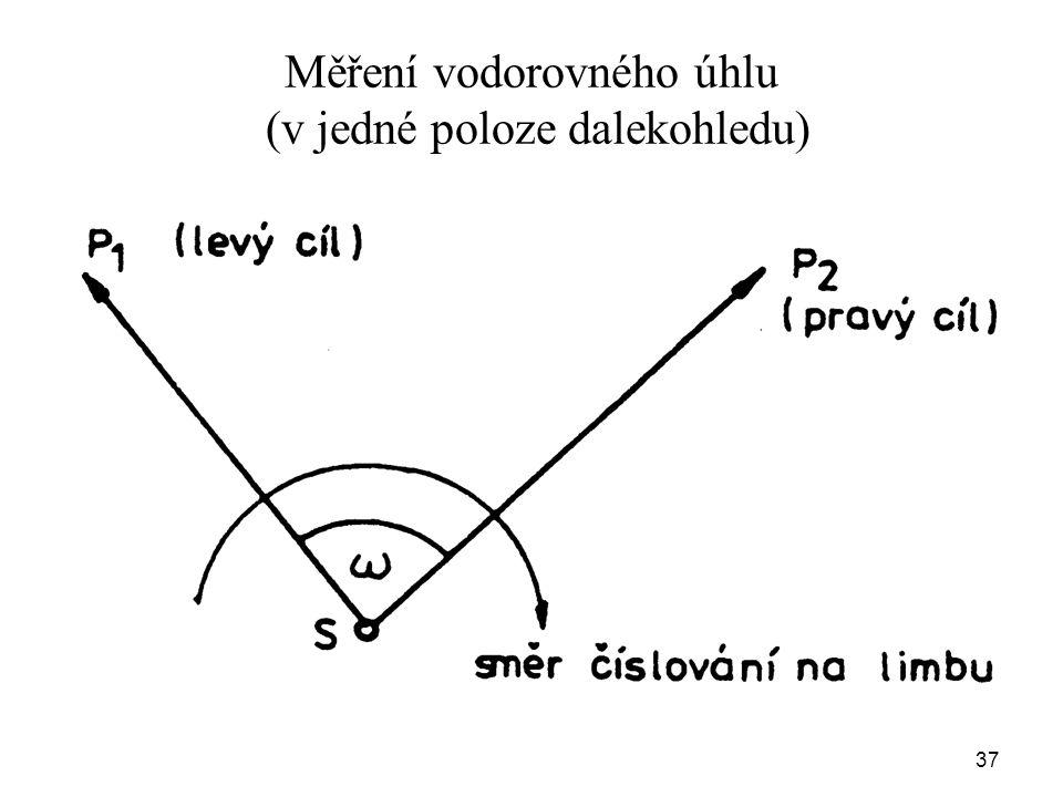 Měření vodorovného úhlu (v jedné poloze dalekohledu) 37