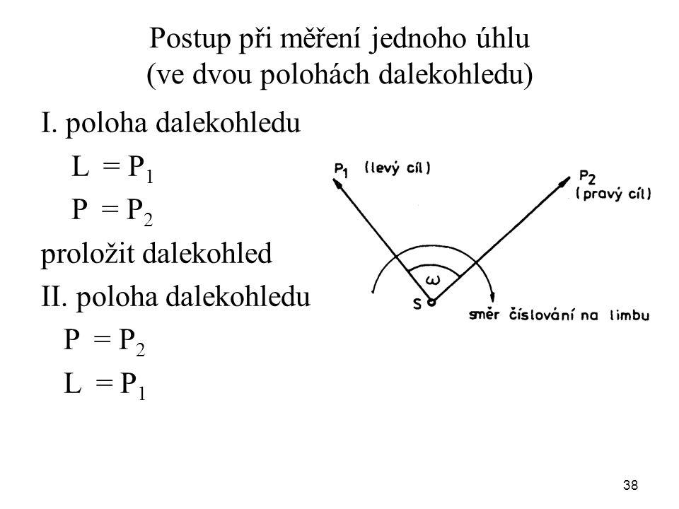 Postup při měření jednoho úhlu (ve dvou polohách dalekohledu) I. poloha dalekohledu L = P 1 P = P 2 proložit dalekohled II. poloha dalekohledu P = P 2