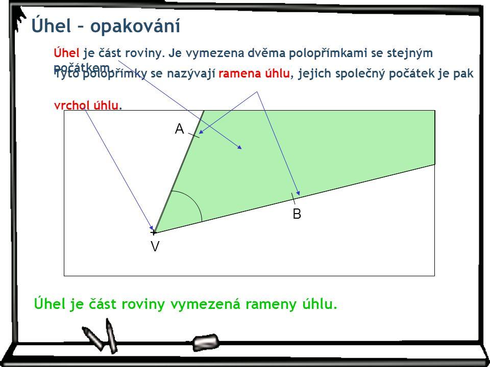 Úhel – opakování Úhel je část roviny. Je vymezen a dvěma polopřímkami se stejným počátkem.