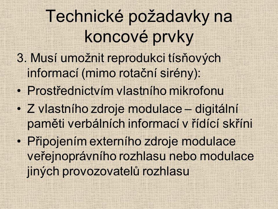 Technické požadavky na koncové prvky 3.