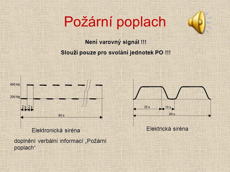 """Požární poplach Elektronická siréna doplnění verbální informací """"Požární poplach Elektrická siréna Není varovný signál !!."""