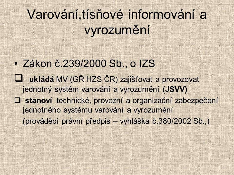 Varování,tísňové informování a vyrozumění Zákon č.239/2000 Sb., o IZS  ukládá MV (GŘ HZS ČR) zajišťovat a provozovat jednotný systém varování a vyrozumění (JSVV)  stanoví technické, provozní a organizační zabezpečení jednotného systému varování a vyrozumění (prováděcí právní předpis – vyhláška č.380/2002 Sb.,)