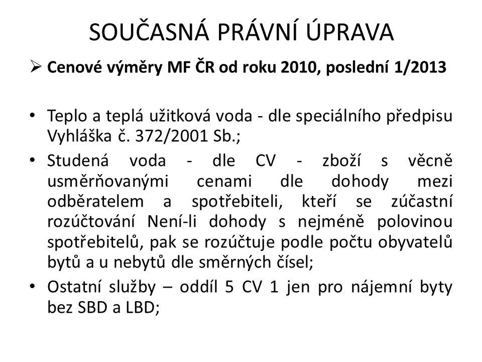 SOUČASNÁ PRÁVNÍ ÚPRAVA  Cenové výměry MF ČR od roku 2010, poslední 1/2013 Teplo a teplá užitková voda - dle speciálního předpisu Vyhláška č. 372/2001